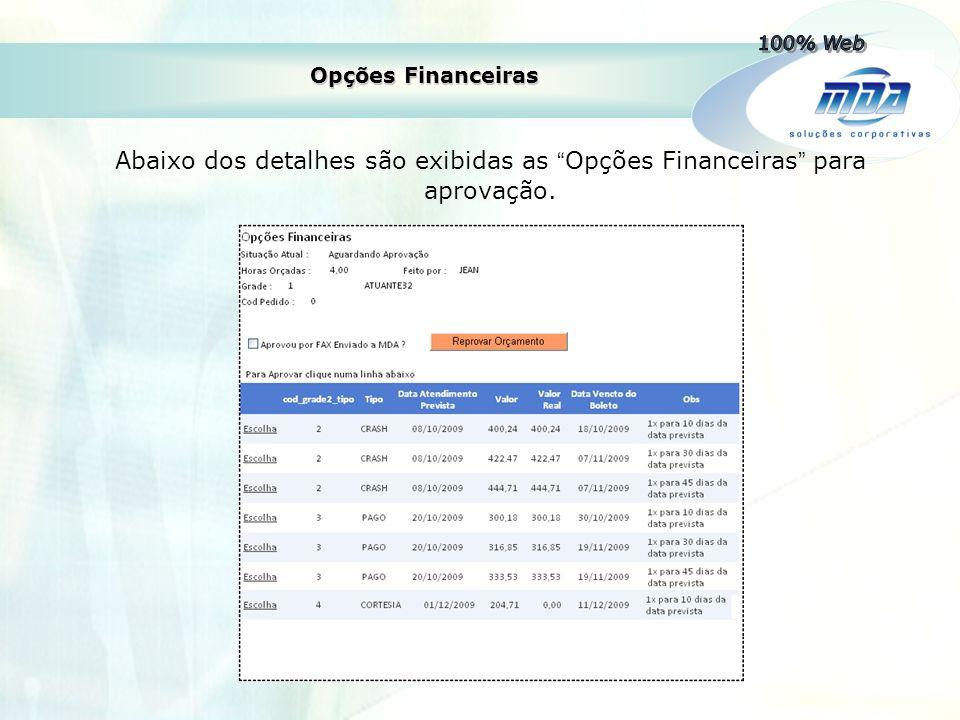 """Opções Financeiras Abaixo dos detalhes são exibidas as """" Opções Financeiras """" para aprovação."""