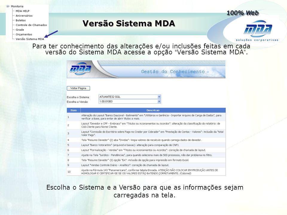 """Versão Sistema MDA Para ter conhecimento das alterações e/ou inclusões feitas em cada versão do Sistema MDA acesse a opção """" Versão Sistema MDA """". Esc"""