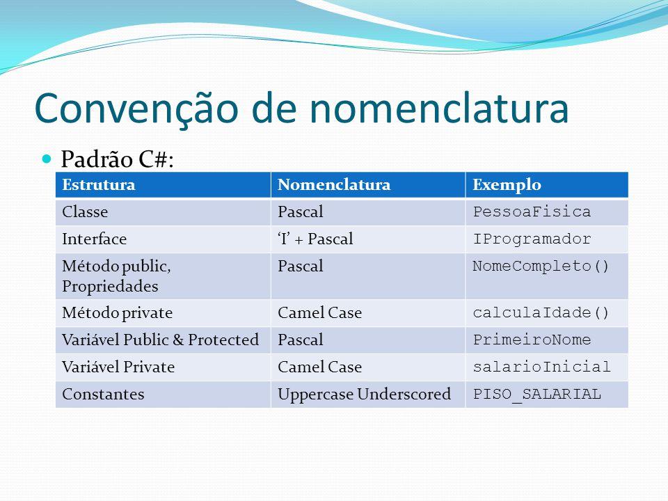 Convenção de nomenclatura  Padrão C#: EstruturaNomenclaturaExemplo ClassePascal PessoaFisica Interface'I' + Pascal IProgramador Método public, Propri