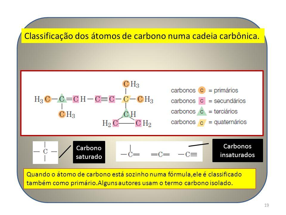 19 Classificação dos átomos de carbono numa cadeia carbônica. Quando o átomo de carbono está sozinho numa fórmula,ele é classificado também como primá