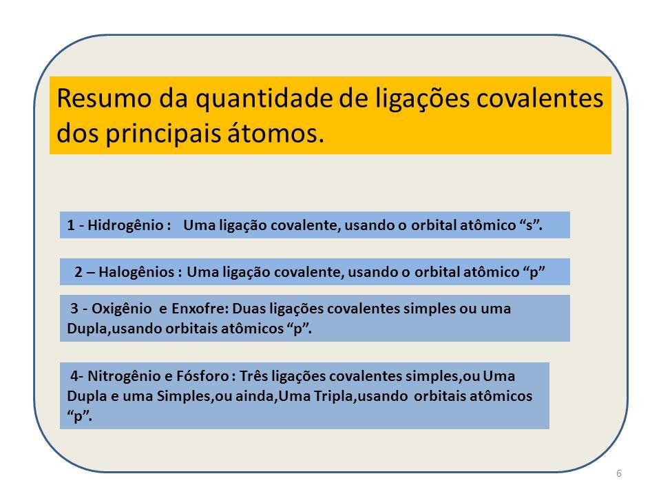 """6 Resumo da quantidade de ligações covalentes dos principais átomos. 1 - Hidrogênio : Uma ligação covalente, usando o orbital atômico """"s"""". 2 – Halogên"""