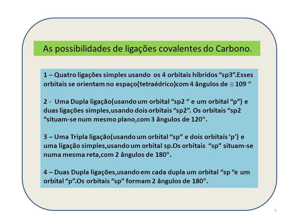 """7 As possibilidades de ligações covalentes do Carbono. 1 – Quatro ligações simples usando os 4 orbitais híbridos """"sp3"""".Esses orbitais se orientam no e"""