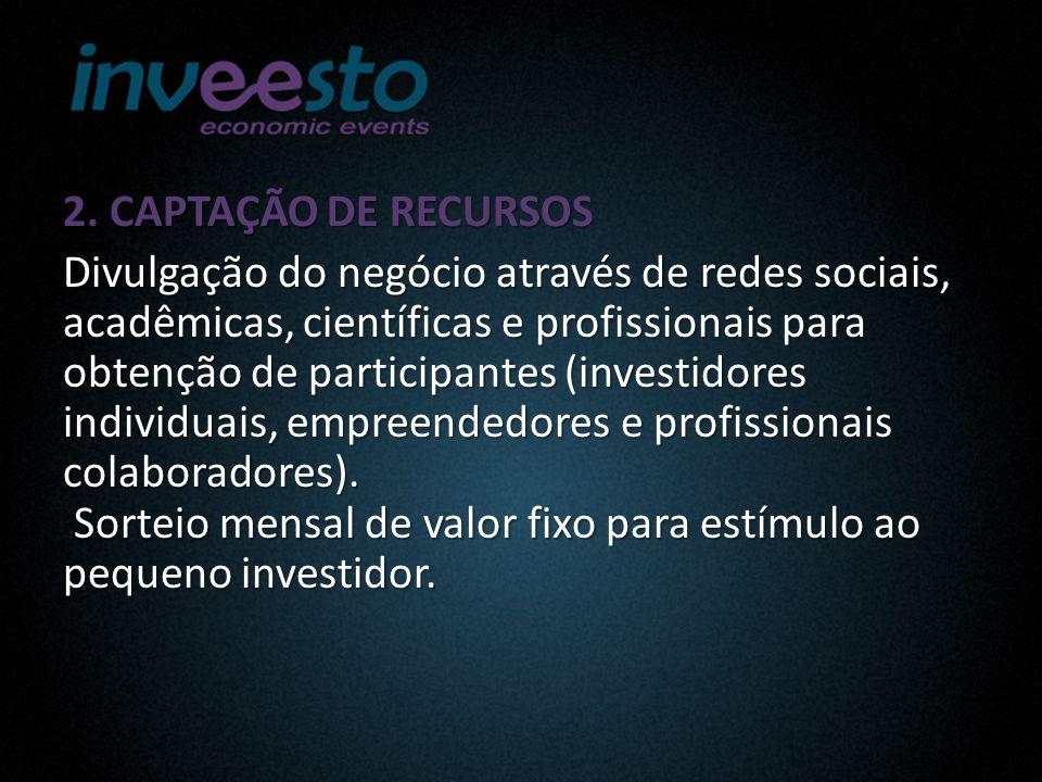 2. CAPTAÇÃO DE RECURSOS Divulgação do negócio através de redes sociais, acadêmicas, científicas e profissionais para obtenção de participantes (invest