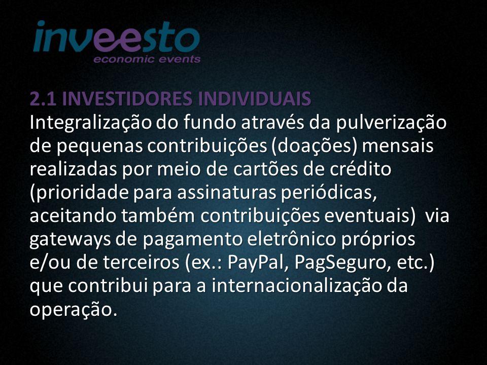 2.1 INVESTIDORES INDIVIDUAIS Integralização do fundo através da pulverização de pequenas contribuições (doações) mensais realizadas por meio de cartões de crédito (prioridade para assinaturas periódicas, aceitando também contribuições eventuais) via gateways de pagamento eletrônico próprios e/ou de terceiros (ex.: PayPal, PagSeguro, etc.) que contribui para a internacionalização da operação.