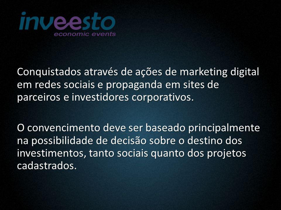 Conquistados através de ações de marketing digital em redes sociais e propaganda em sites de parceiros e investidores corporativos.