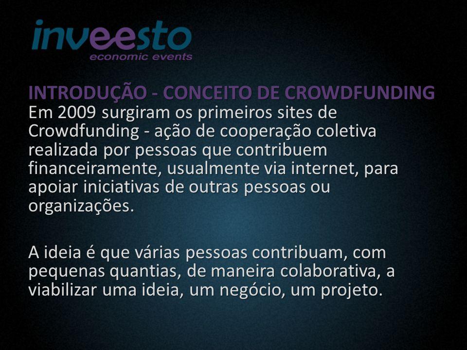 INTRODUÇÃO - CONCEITO DE CROWDFUNDING Em 2009 surgiram os primeiros sites de Crowdfunding - ação de cooperação coletiva realizada por pessoas que contribuem financeiramente, usualmente via internet, para apoiar iniciativas de outras pessoas ou organizações.