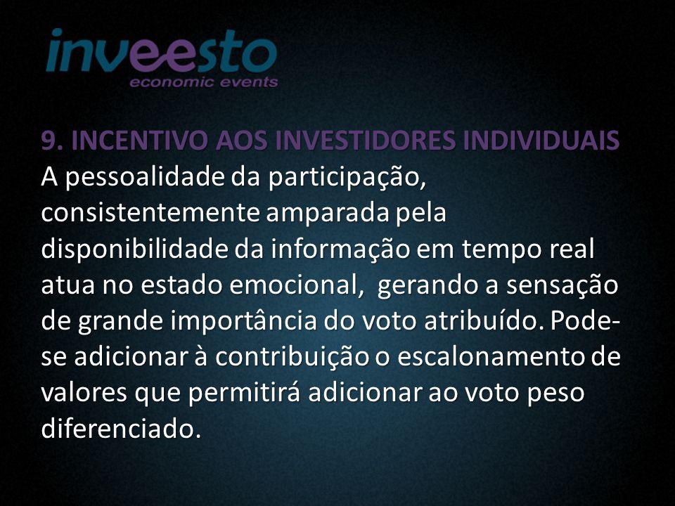 9. INCENTIVO AOS INVESTIDORES INDIVIDUAIS A pessoalidade da participação, consistentemente amparada pela disponibilidade da informação em tempo real a