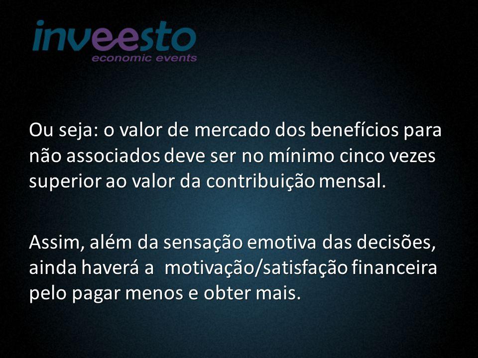 Ou seja: o valor de mercado dos benefícios para não associados deve ser no mínimo cinco vezes superior ao valor da contribuição mensal.