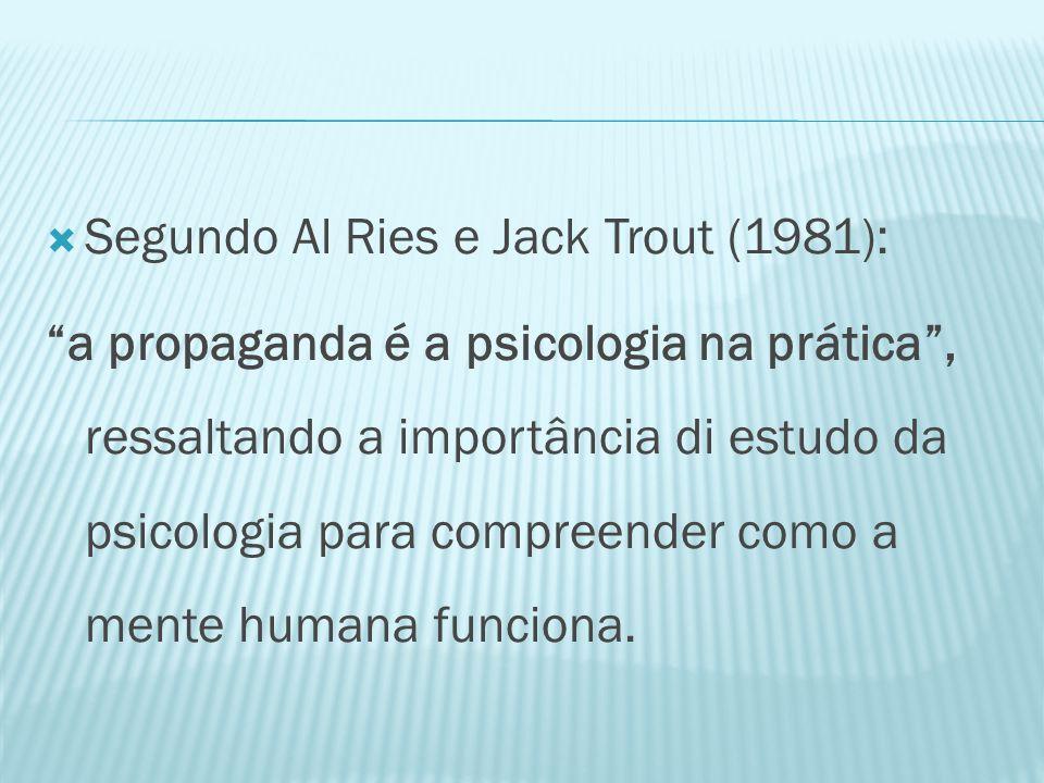 Segundo Al Ries e Jack Trout (1981): a propaganda é a psicologia na prática , ressaltando a importância di estudo da psicologia para compreender como a mente humana funciona.