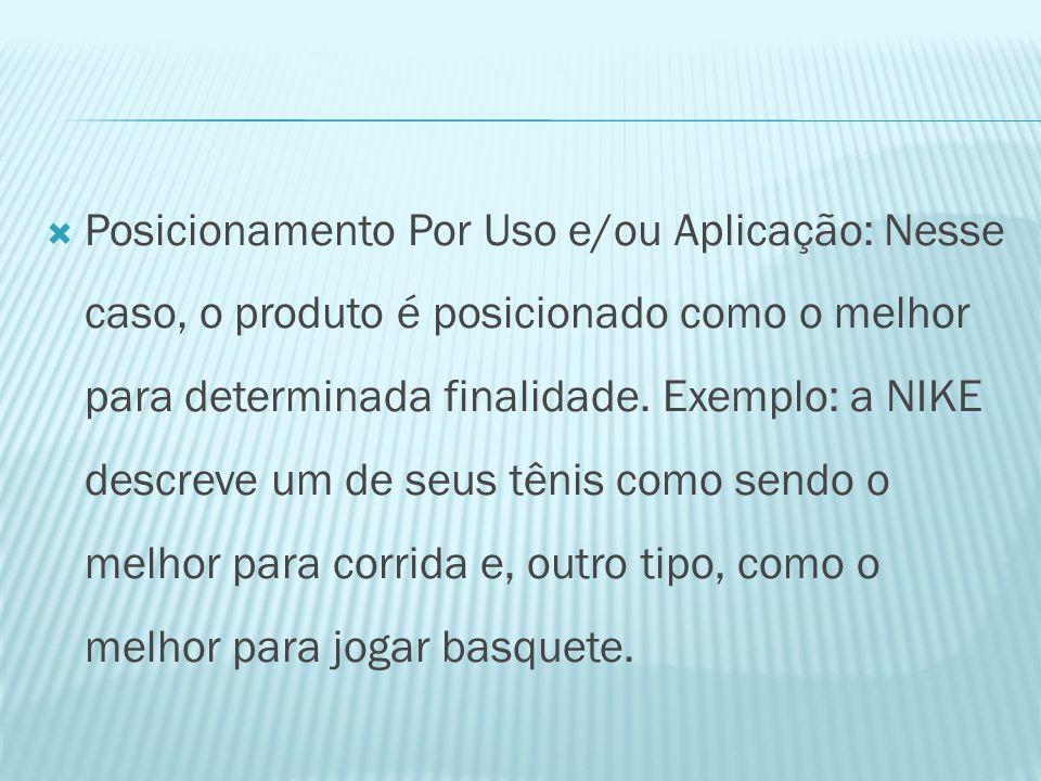  Posicionamento Por Uso e/ou Aplicação: Nesse caso, o produto é posicionado como o melhor para determinada finalidade.