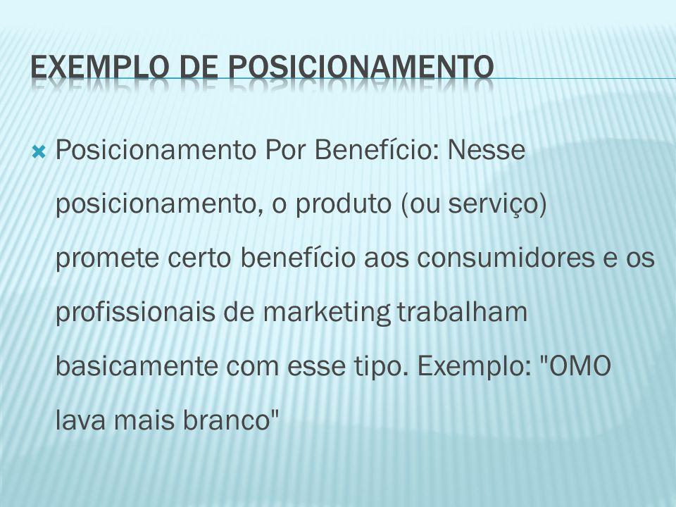  Posicionamento Por Benefício: Nesse posicionamento, o produto (ou serviço) promete certo benefício aos consumidores e os profissionais de marketing trabalham basicamente com esse tipo.