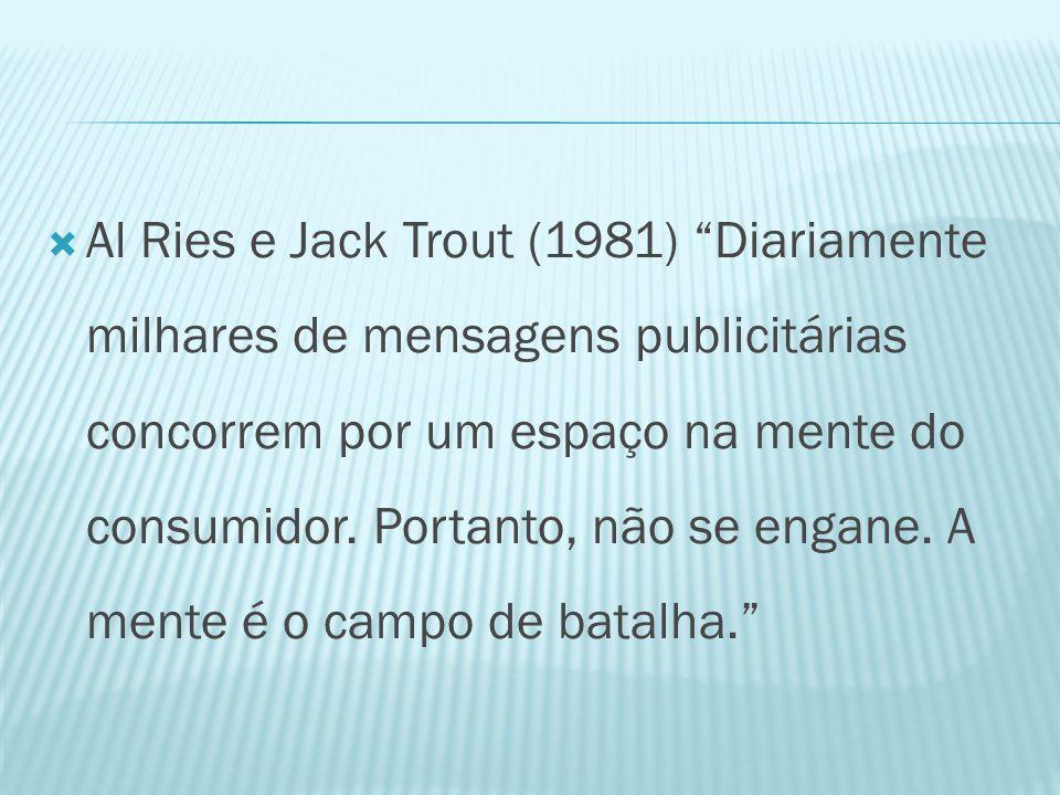  Al Ries e Jack Trout (1981) Diariamente milhares de mensagens publicitárias concorrem por um espaço na mente do consumidor.