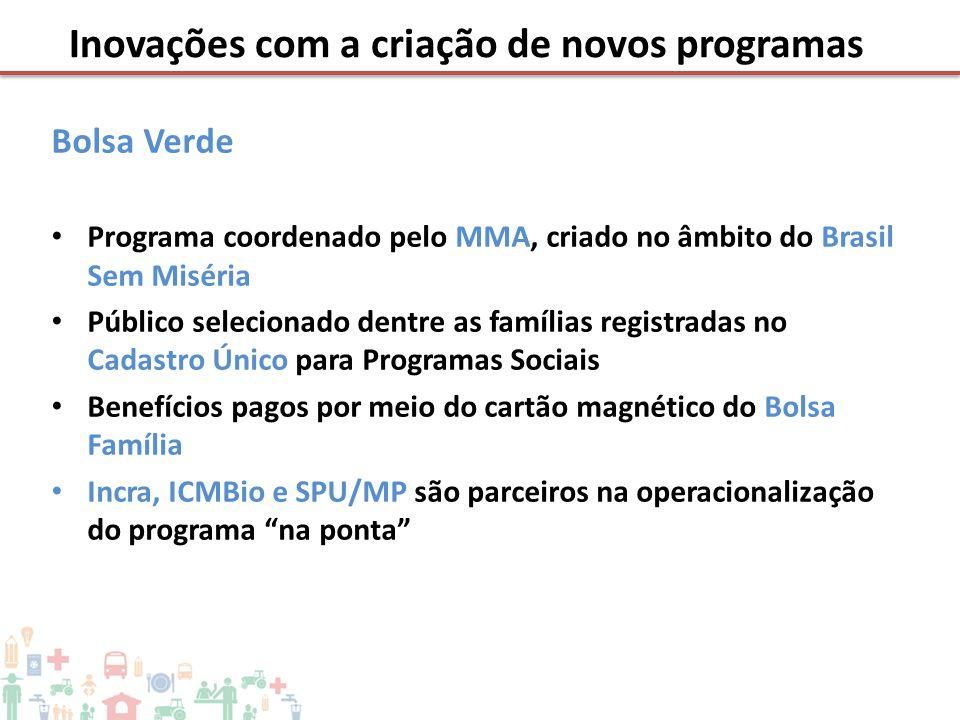 Bolsa Verde • Programa coordenado pelo MMA, criado no âmbito do Brasil Sem Miséria • Público selecionado dentre as famílias registradas no Cadastro Ún