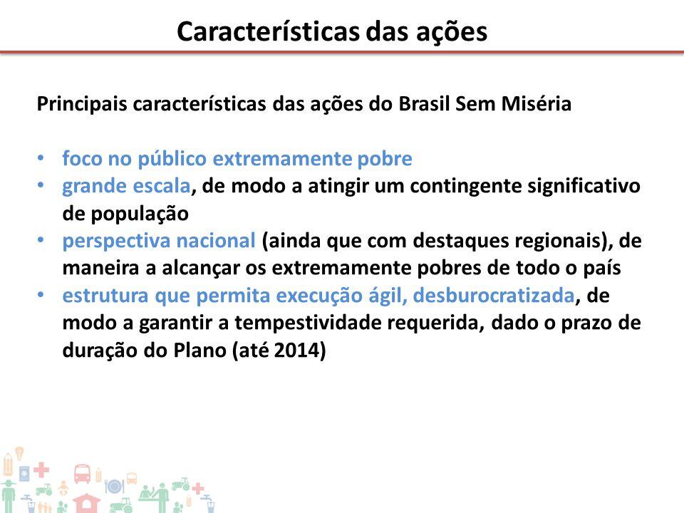 Principais características das ações do Brasil Sem Miséria • foco no público extremamente pobre • grande escala, de modo a atingir um contingente sign