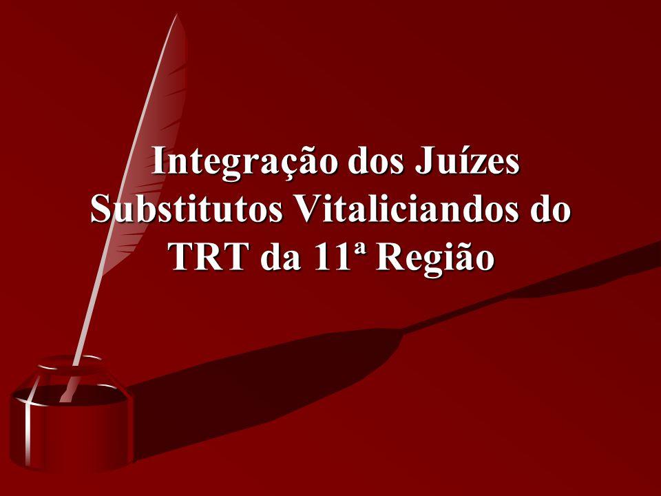 Integração dos Juízes Substitutos Vitaliciandos do TRT da 11ª Região Integração dos Juízes Substitutos Vitaliciandos do TRT da 11ª Região