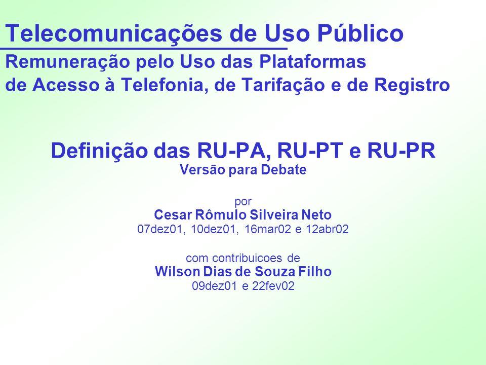 Telecomunicações de Uso Público Remuneração pelo Uso das Plataformas de Acesso à Telefonia, de Tarifação e de Registro Definição das RU-PA, RU-PT e RU
