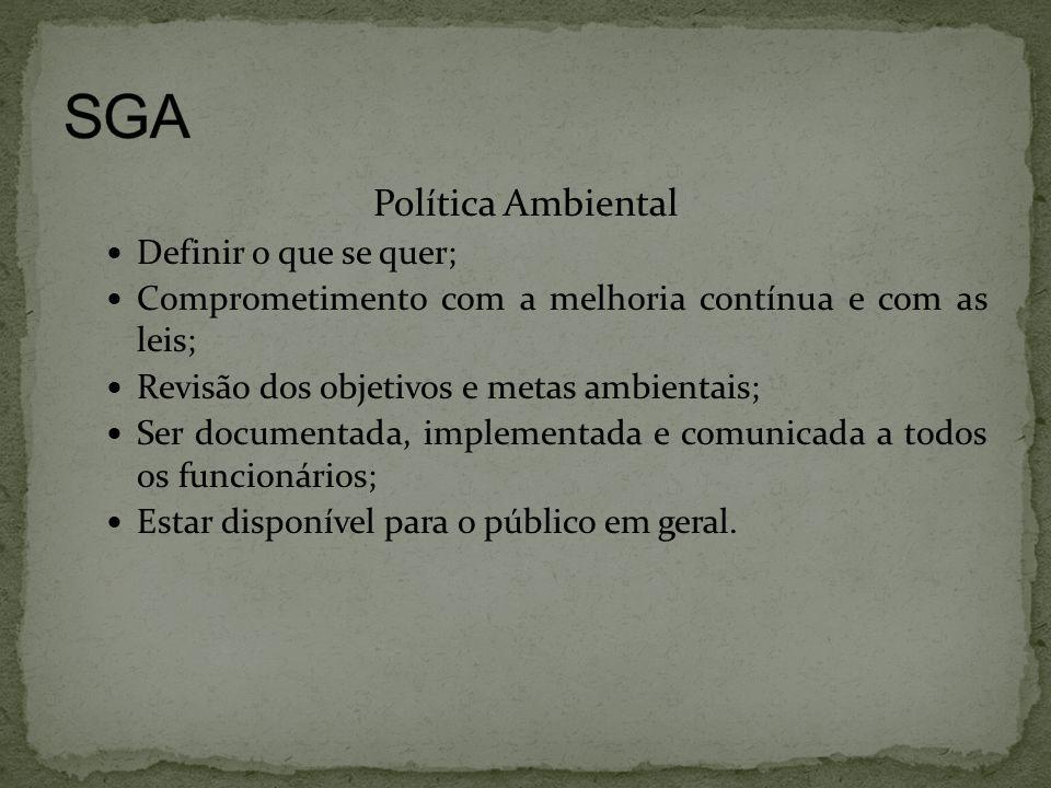 Política Ambiental  Definir o que se quer;  Comprometimento com a melhoria contínua e com as leis;  Revisão dos objetivos e metas ambientais;  Ser