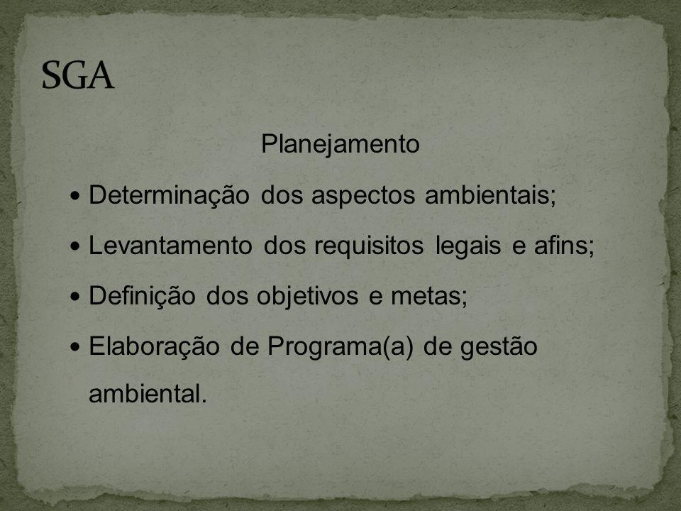 Planejamento  Determinação dos aspectos ambientais;  Levantamento dos requisitos legais e afins;  Definição dos objetivos e metas;  Elaboração de