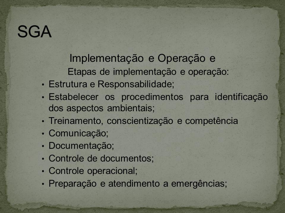 Implementação e Operação e Etapas de implementação e operação: • Estrutura e Responsabilidade; • Estabelecer os procedimentos para identificação dos a