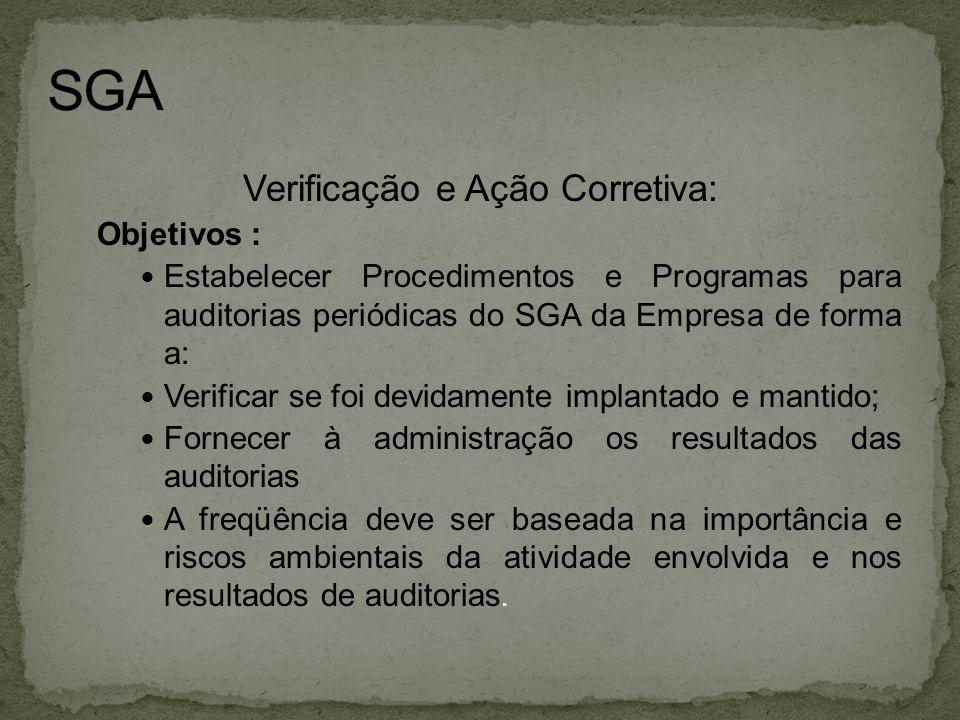Verificação e Ação Corretiva: Objetivos :  Estabelecer Procedimentos e Programas para auditorias periódicas do SGA da Empresa de forma a:  Verificar