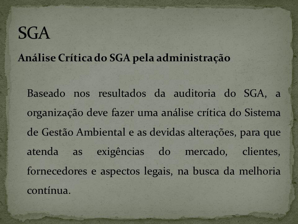 Análise Crítica do SGA pela administração Baseado nos resultados da auditoria do SGA, a organização deve fazer uma análise crítica do Sistema de Gestã