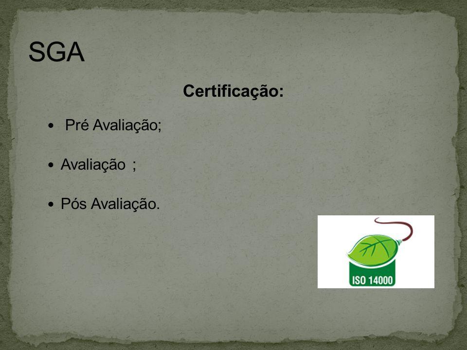 Certificação:  Pré Avaliação;  Avaliação ;  Pós Avaliação.