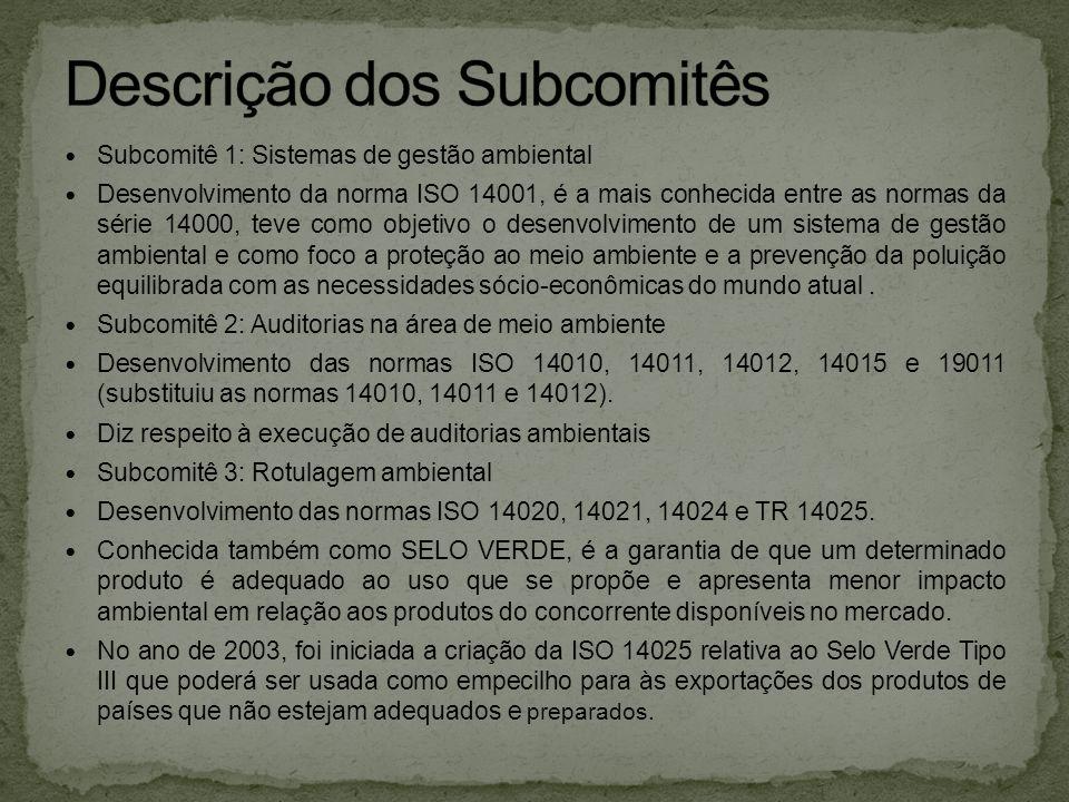  Subcomitê 1: Sistemas de gestão ambiental  Desenvolvimento da norma ISO 14001, é a mais conhecida entre as normas da série 14000, teve como objetiv