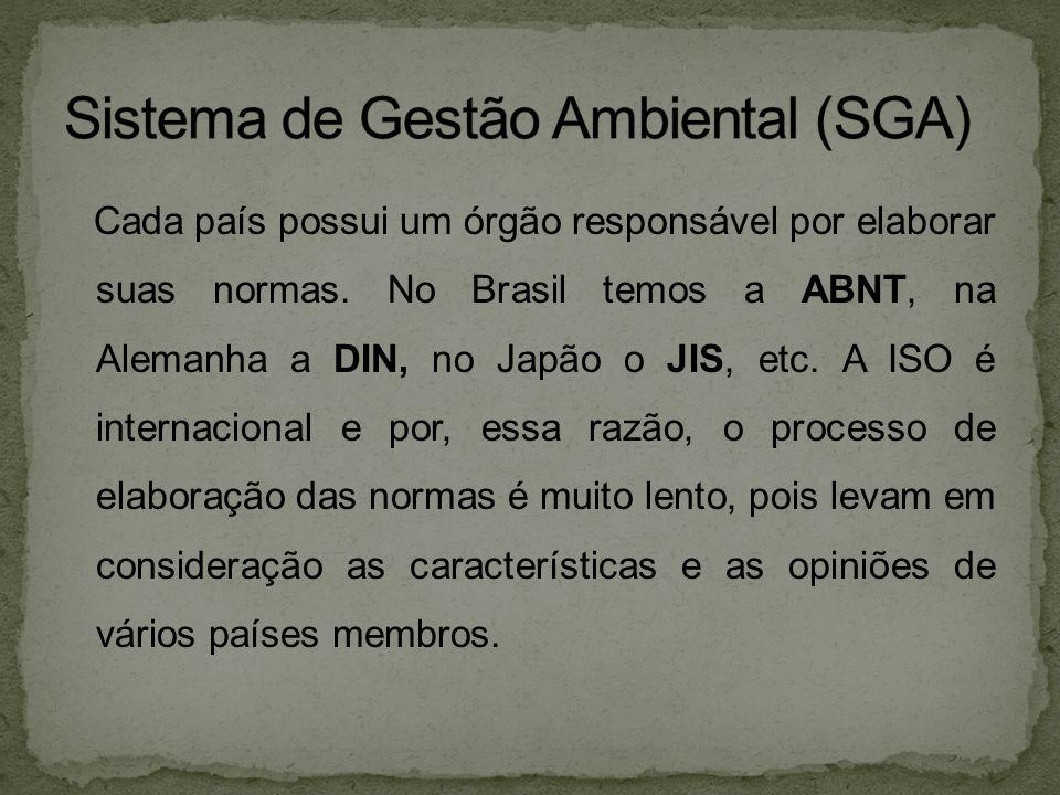 Cada país possui um órgão responsável por elaborar suas normas. No Brasil temos a ABNT, na Alemanha a DIN, no Japão o JIS, etc. A ISO é internacional