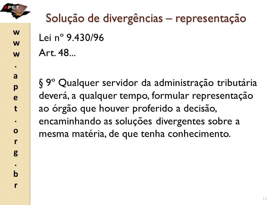 www.apet.org.brwww.apet.org.br Solução de divergências – representação Lei nº 9.430/96 Art.