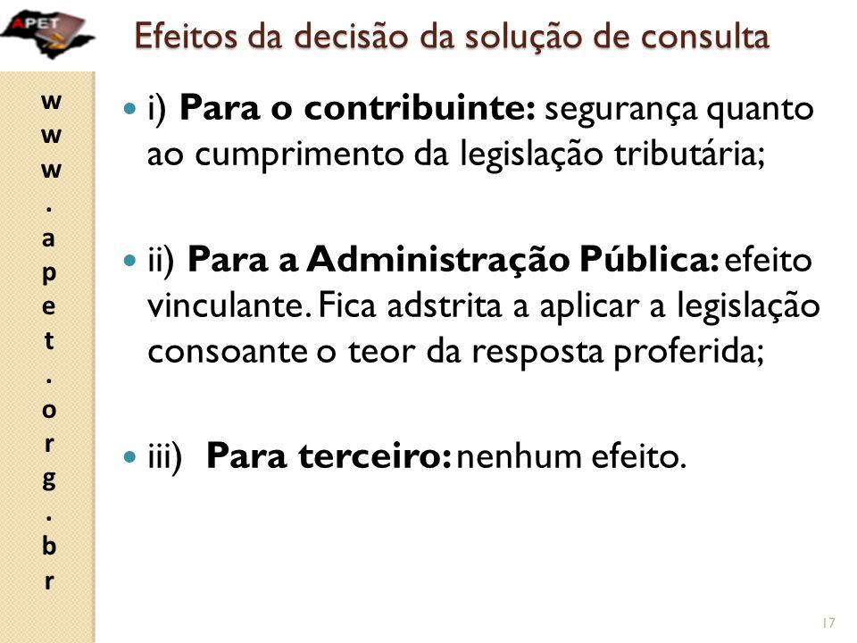 www.apet.org.brwww.apet.org.br Efeitos da decisão da solução de consulta  i) Para o contribuinte: segurança quanto ao cumprimento da legislação tributária;  ii) Para a Administração Pública: efeito vinculante.