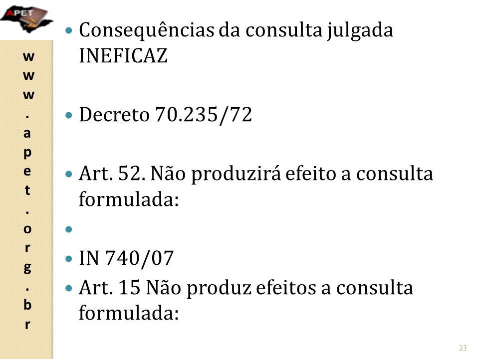 www.apet.org.brwww.apet.org.br  Consequências da consulta julgada INEFICAZ  Decreto 70.235/72  Art.