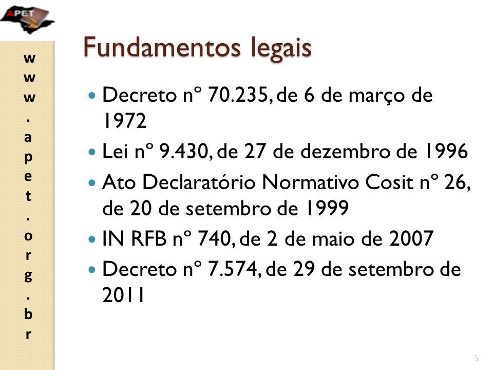 www.apet.org.brwww.apet.org.br Fundamentos legais  Decreto nº 70.235, de 6 de março de 1972  Lei nº 9.430, de 27 de dezembro de 1996  Ato Declaratório Normativo Cosit nº 26, de 20 de setembro de 1999  IN RFB nº 740, de 2 de maio de 2007  Decreto nº 7.574, de 29 de setembro de 2011 5
