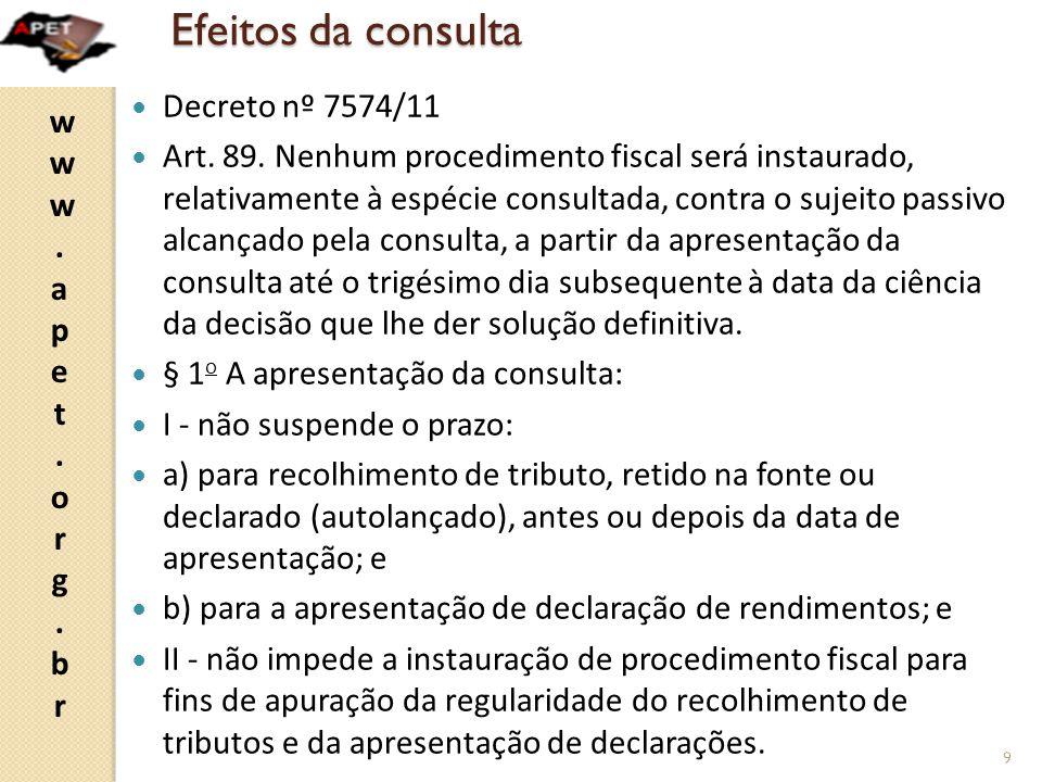 www.apet.org.brwww.apet.org.br Efeito retroativo da mudança de entendimento  Decreto nº 7.574/11  Art.