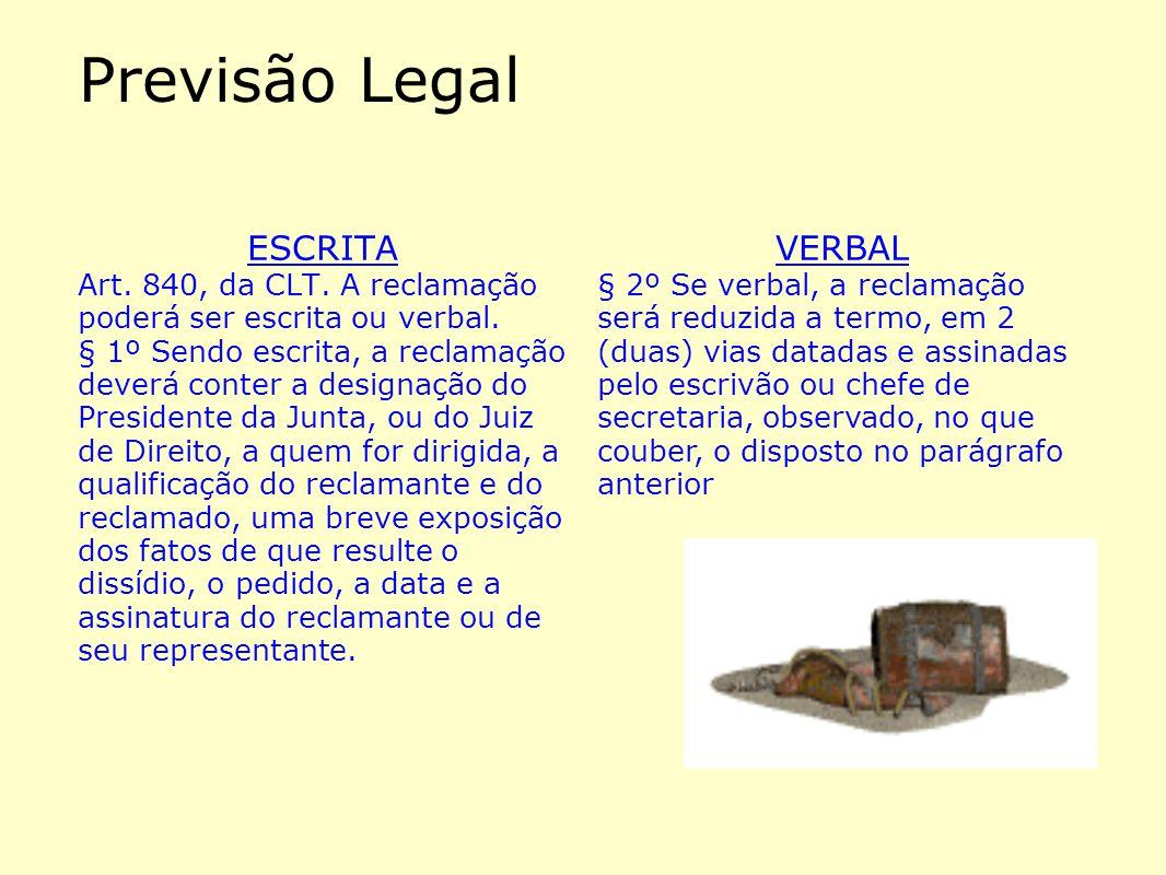 Previsão Legal ESCRITA Art. 840, da CLT. A reclamação poderá ser escrita ou verbal. § 1º Sendo escrita, a reclamação deverá conter a designação do Pre