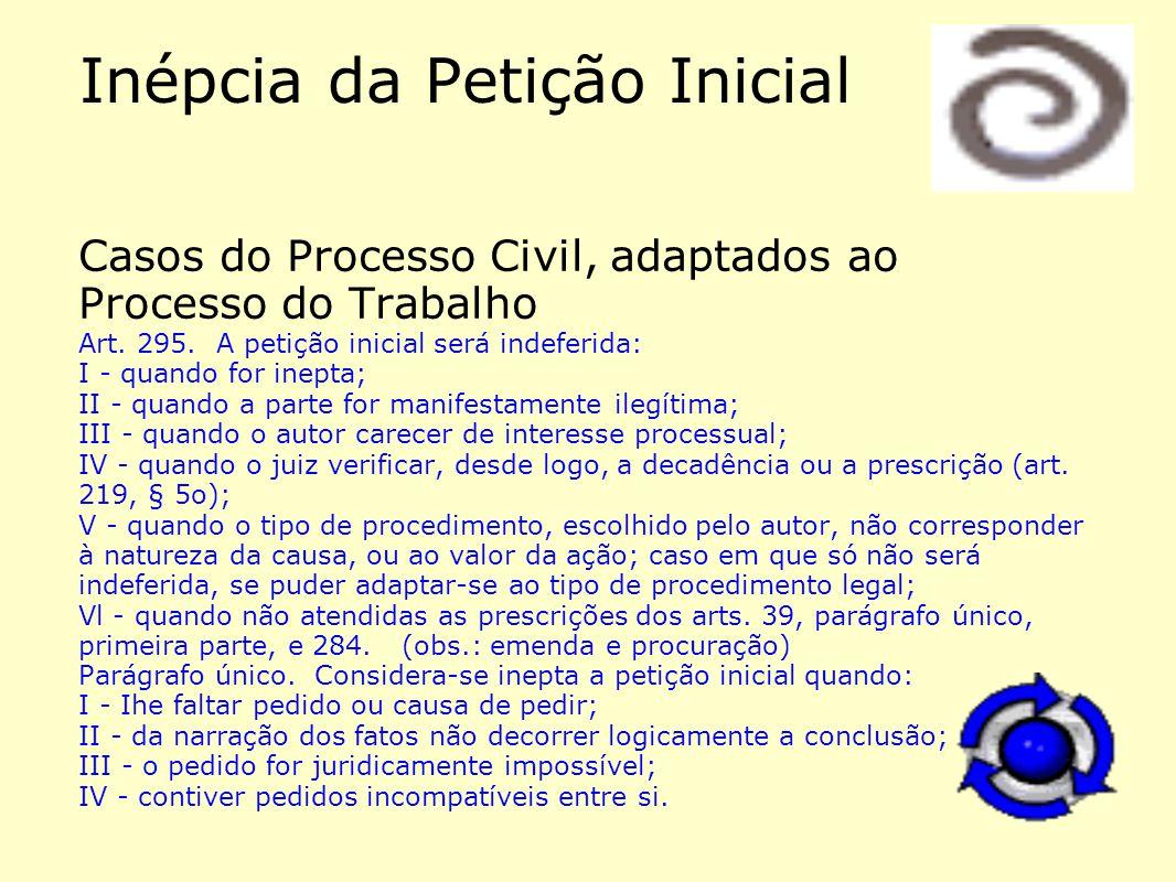 Inépcia da Petição Inicial Casos do Processo Civil, adaptados ao Processo do Trabalho Art. 295. A petição inicial será indeferida: I - quando for inep