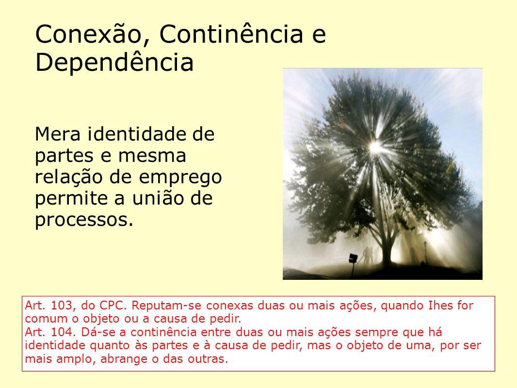 Conexão, Continência e Dependência Mera identidade de partes e mesma relação de emprego permite a união de processos. Art. 103, do CPC. Reputam-se con