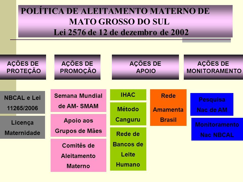 POLÍTICA DE ALEITAMENTO MATERNO DE MATO GROSSO DO SUL Lei 2576 de 12 de dezembro de 2002 IHAC Método Canguru Rede Amamenta Brasil Rede de Bancos de Le