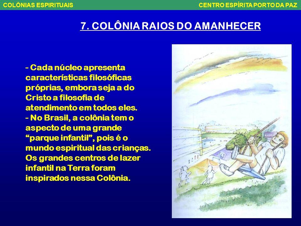 """7. COLÔNIA RAIOS DO AMANHECER - Localiza-se na parte central do planeta, acompanhando a imaginária linha do equador. - Forma uma quase """"ciranda"""" em to"""