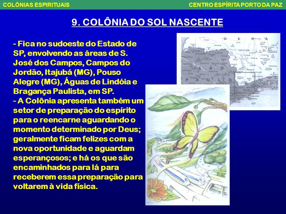 8. COLÔNIA REGENERAÇÃO - Localiza-se nas proximidades de Goiânia, seguindo em direção a Brasília, envolvendo Anápolis, Pirenópolis, Luziânia até Formo