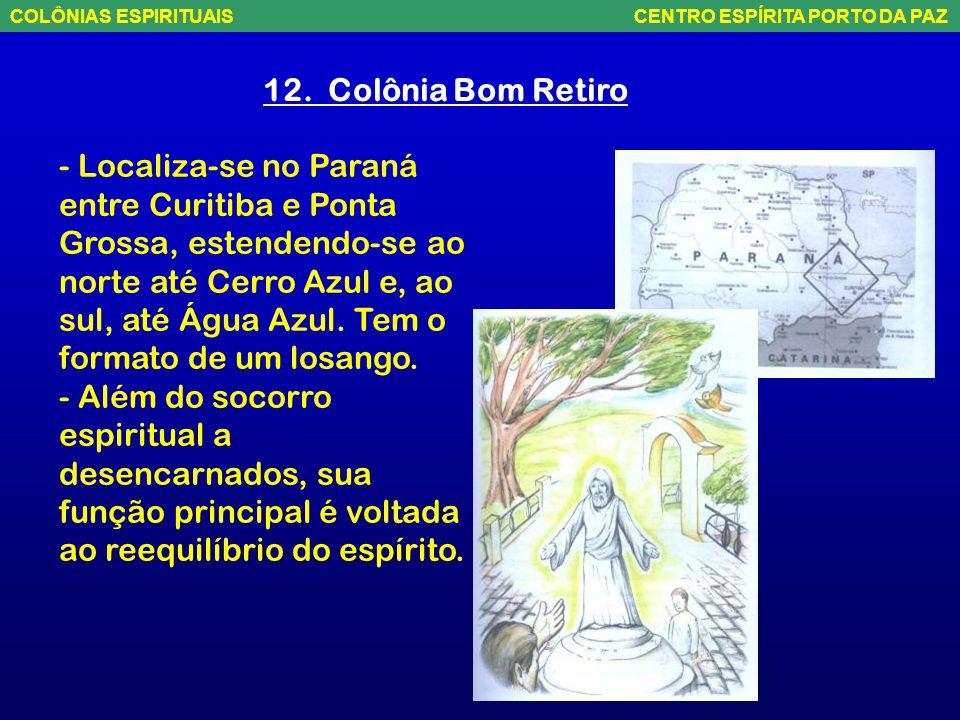11. COLÔNIA DAS MONTANHAS - Localiza-se a noroeste de MG, próxima à divisa com Goiás, adentrando o sudoeste entre a Serra Bonita (MG) e a Serra da Cap