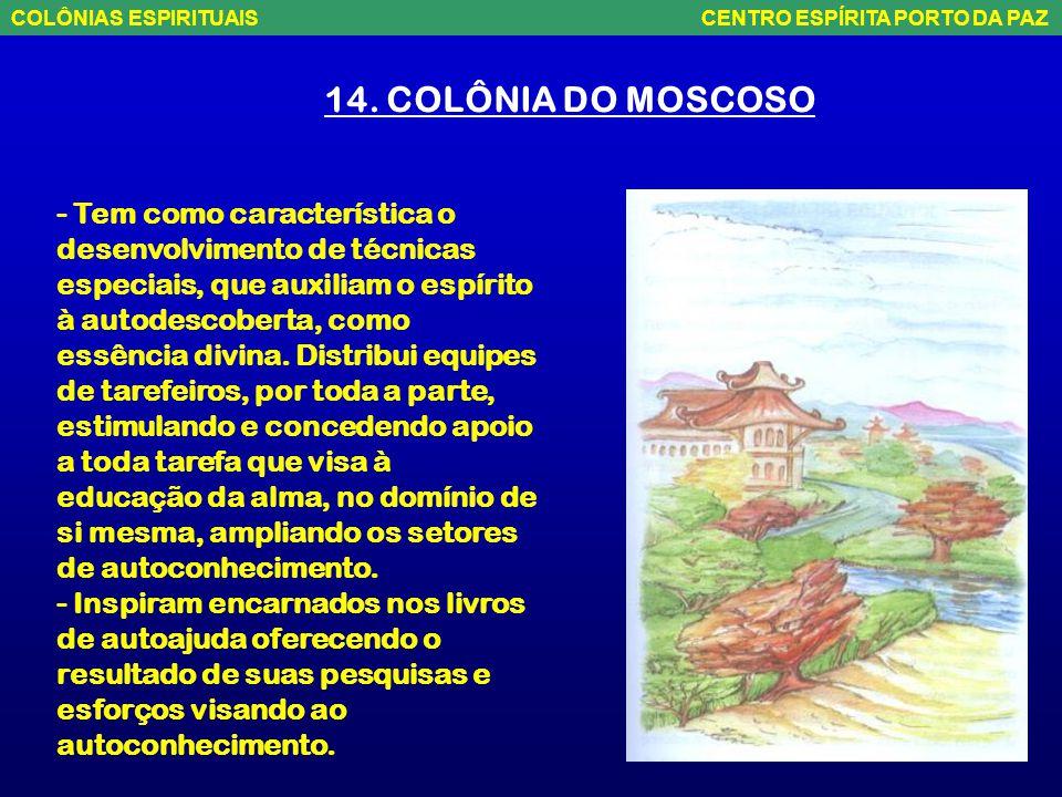 14. COLÔNIA DO MOSCOSO - Situada na parte centro-leste do Espírito Santo. Envolve a área que abrange Vitória, Vila Velha, Domingos Martins, Cariacica,