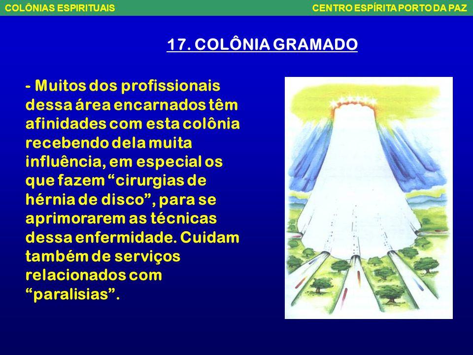17. COLÔNIA GRAMADO - Está sobre o Rio Grande do Sul, com vários núcleos de atendimento socorrista, como se fosse um conjunto de cidades- satélite da