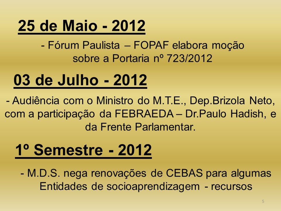 5 25 de Maio - 2012 - Fórum Paulista – FOPAF elabora moção sobre a Portaria nº 723/2012 03 de Julho - 2012 - Audiência com o Ministro do M.T.E., Dep.Brizola Neto, com a participação da FEBRAEDA – Dr.Paulo Hadish, e da Frente Parlamentar.