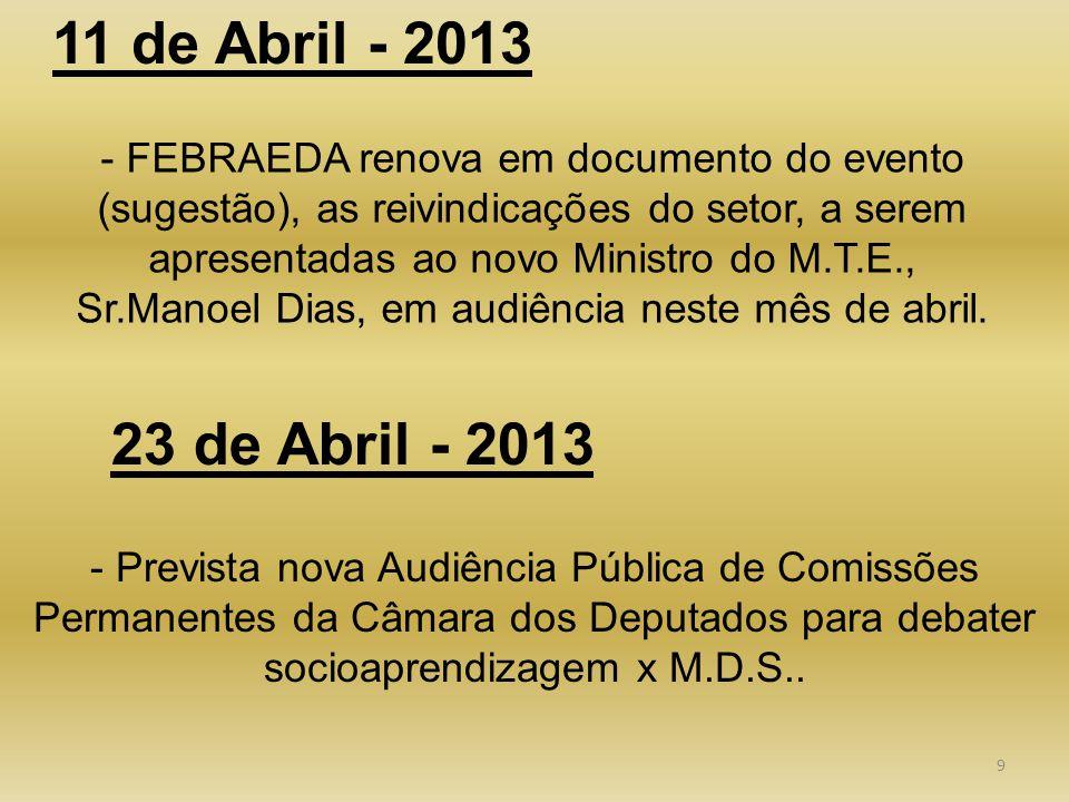 9 - FEBRAEDA renova em documento do evento (sugestão), as reivindicações do setor, a serem apresentadas ao novo Ministro do M.T.E., Sr.Manoel Dias, em