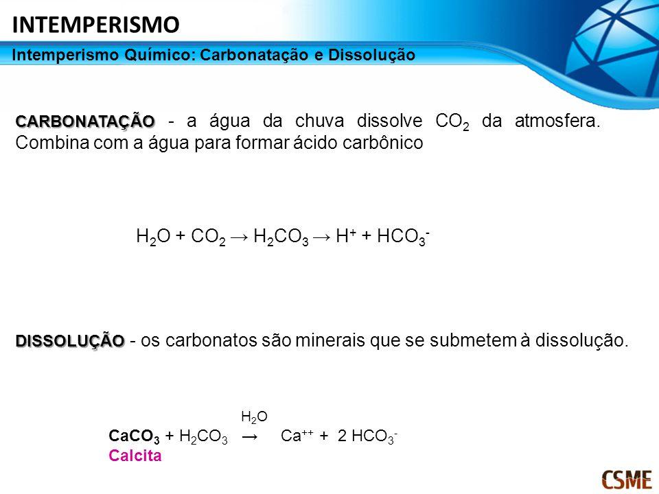 Intemperismo Químico: Carbonatação e Dissolução CARBONATAÇÃO CARBONATAÇÃO - a água da chuva dissolve CO 2 da atmosfera. Combina com a água para formar