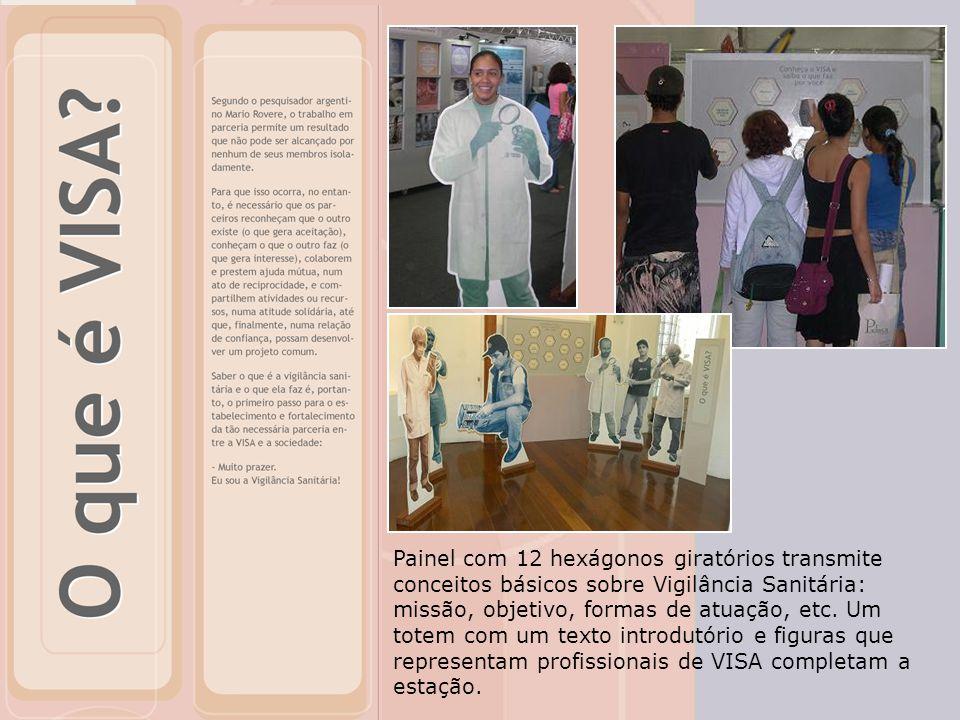 Painel com 12 hexágonos giratórios transmite conceitos básicos sobre Vigilância Sanitária: missão, objetivo, formas de atuação, etc.