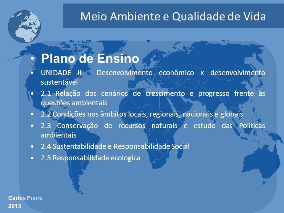 Carlos Freire 2013 Meio Ambiente e Qualidade de Vida •Plano de Ensino •UNIDADE II - Desenvolvimento econômico x desenvolvimento sustentável •2.1 Relaç