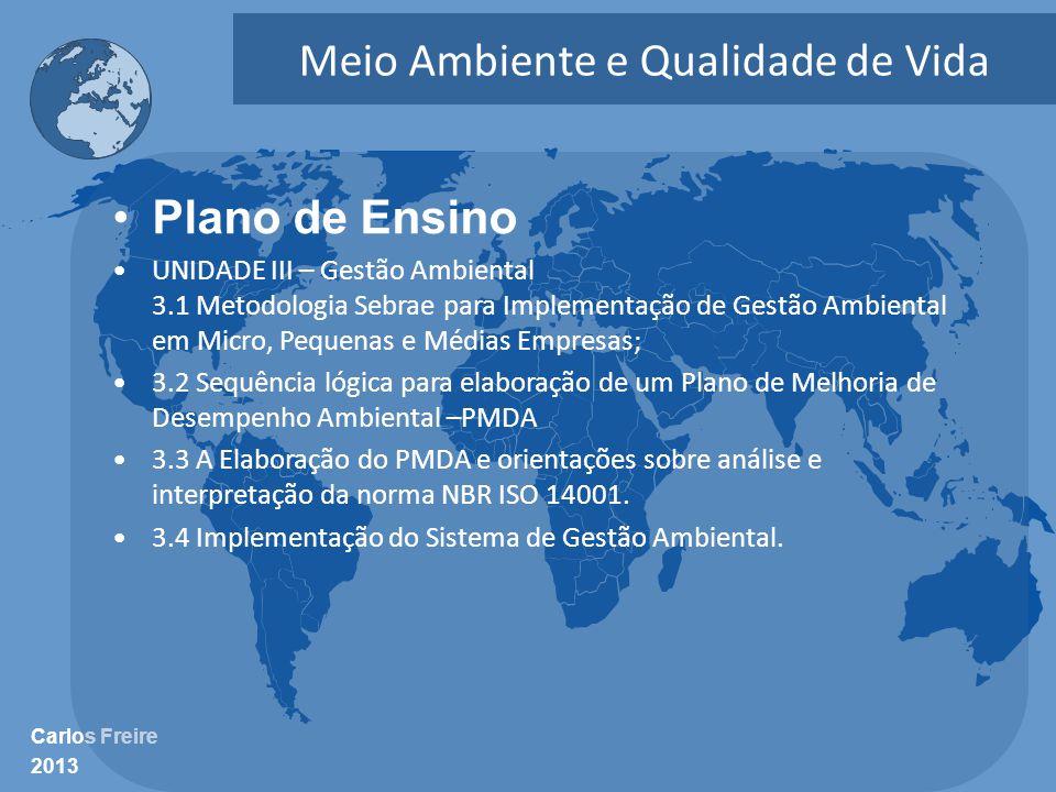 Carlos Freire 2013 Meio Ambiente e Qualidade de Vida •Plano de Ensino •UNIDADE III – Gestão Ambiental 3.1 Metodologia Sebrae para Implementação de Ges