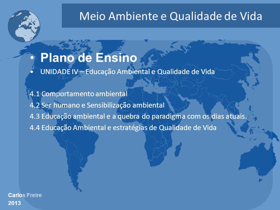Carlos Freire 2013 Meio Ambiente e Qualidade de Vida •Plano de Ensino •UNIDADE IV – Educação Ambiental e Qualidade de Vida 4.1 Comportamento ambiental