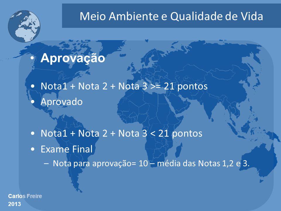 Carlos Freire 2013 Meio Ambiente e Qualidade de Vida •Aprovação •Nota1 + Nota 2 + Nota 3 >= 21 pontos •Aprovado •Nota1 + Nota 2 + Nota 3 < 21 pontos •